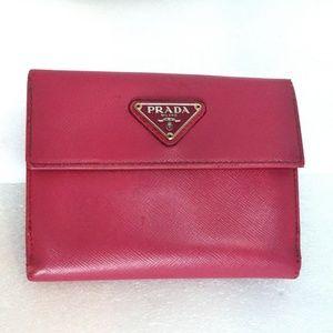 Auth PRADA Italy Wallet Case Trifold Bifold Clutch